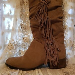 Madden Girl Pondo Tall Suede Fringe Boots